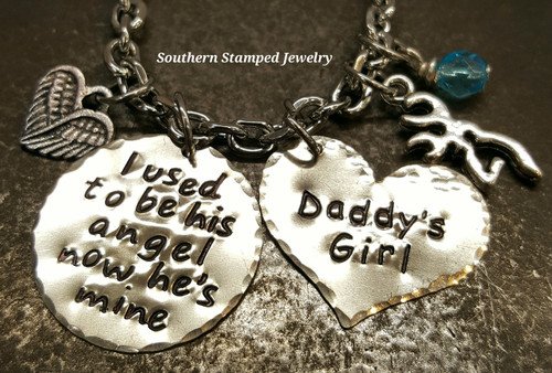 I Used To Be His Angel Silver Circle w/ Silver Solid Heart Rear View Mirror Charm