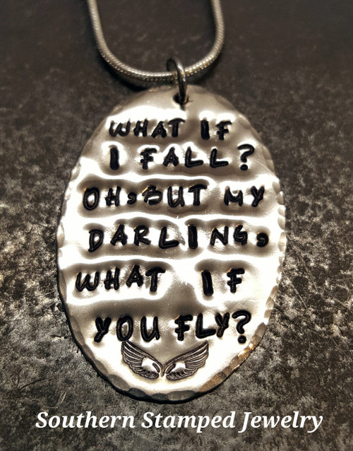 What If I Fall Silver Oval Necklace