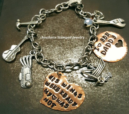 His Wings Were Ready Copper Funky Heart w/ Copper Circle Cut Out Heart And Stainless Steel Bracelet