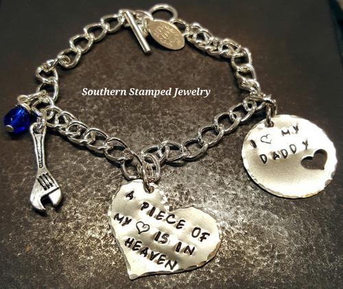 A Piece Of My Heart Silver Heart w/ Silver Circle Cut Out Heart Bracelet