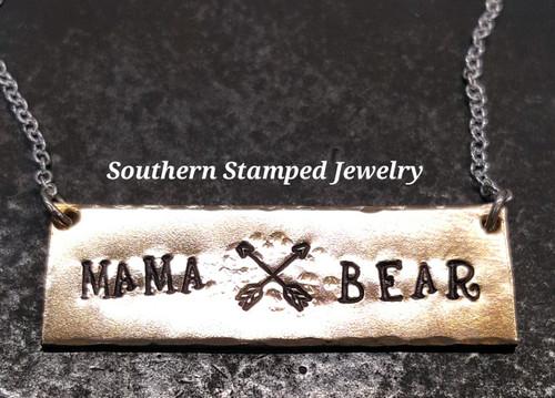 Mama Bear Bronze Bar Necklace