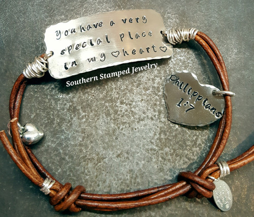 Silver Wide Bar Bracelet w/ Wire Wrapping And Silver Solid Heart On Adjustable Brown Leather Bracelet
