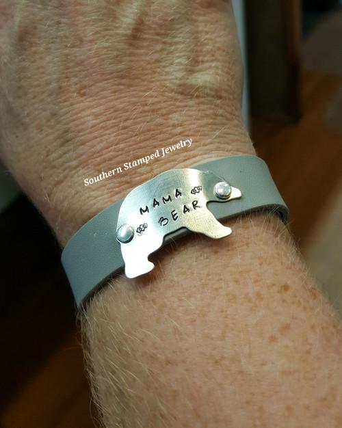 Mama Bear Silver On Grey Leather Cuff Bracelet