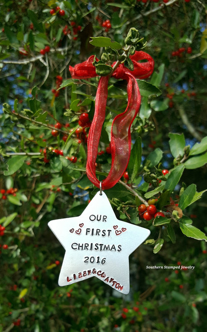 Star Hand Stamped Christmas Ornament