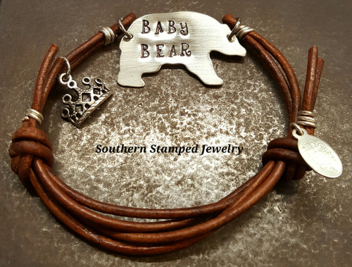 Baby Bear Brown Leather Adjustable Bracelet w/ 1 Charm And Birth Stone Bead