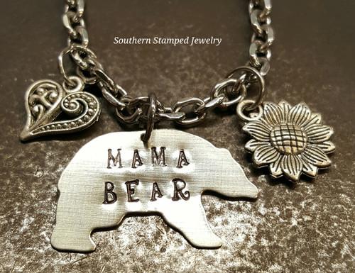 Mama Bear Silver Rear View Mirror Charm w/ 1 Charm and Birth Stone Bead