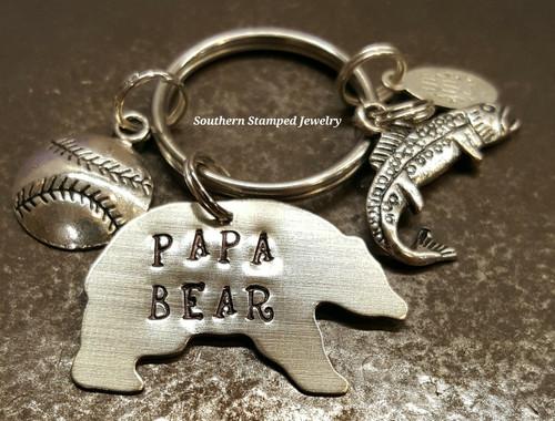 Papa Bear Silver Key Chain w/ 1 Charm
