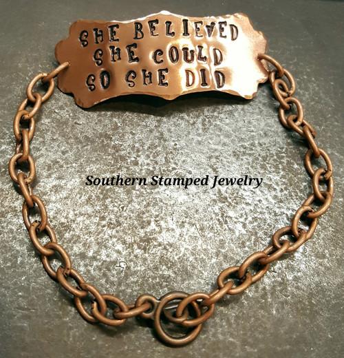 Copper Long Plaque On Copper Bracelet