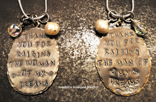 """2 """"Thank You"""" Woman And Man Natural Brass Oval Necklaces"""