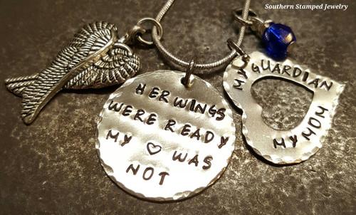 Her Wings Were Ready Silver Circle w/ Silver Open Heart