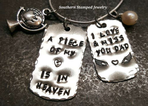 A Piece Of My Heart Silver Dog Tag w/ Smaller Silver Dog Tag