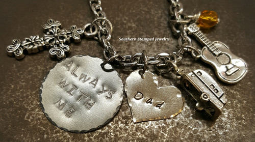 Always With Me Black Metal Circle w/ Solid Silver Heart Rear View Mirror Charm