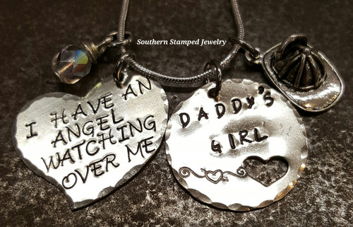 I Have An Angel Silver Funky Heart w/ Silver Circle Cut Out Heart