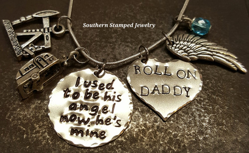 I Used To Be His Angel Silver Circle w/ Silver Solid Heart Roll On Daddy