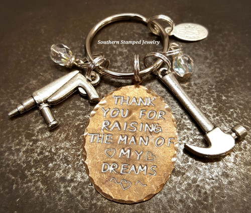 Thank You For Raising The Man Of My Dreams Key Chain w/ Two Charms