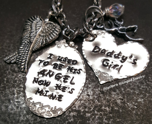 I Used To Be Silver Oval w/ Silver Solid Heart Rear View Mirror Charm
