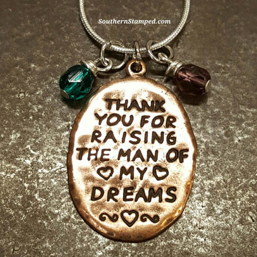 Thank You For Raising The Man Of My Dreams Copper Oval Necklace w/ 2 Birth Stones