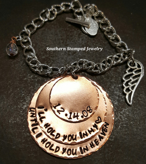 I'll Hold You In My Heart 3 Layer Copper Bracelet