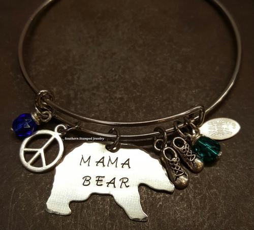 Mama Bear Bangle w/ 2 Birth Stones And 2 Charms