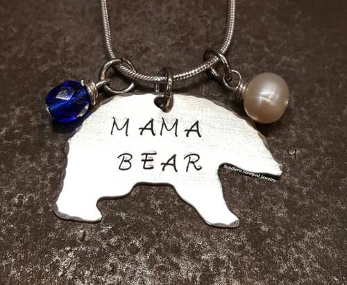 Mama Bear Necklace w/ 2 Birth Stones