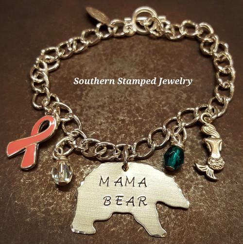 Mama Bear Bracelet w/ 2 Charms And 2 Birth Stones