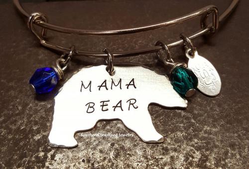 Mama Bear Bangle Bracelet w/ 2 Birth Stones