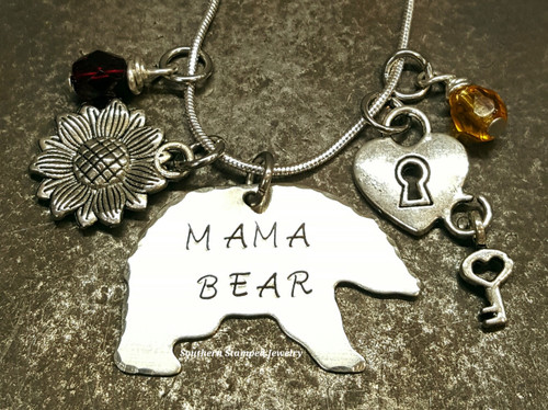 Mama Bear Necklace w/ 2 Charms And 2 Birth Stones