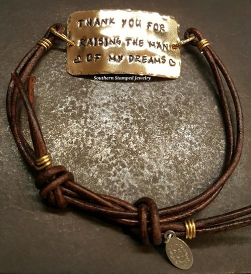 Thank You For Raising The Man Brass Wide Bar Brown Adjustable Bracelet