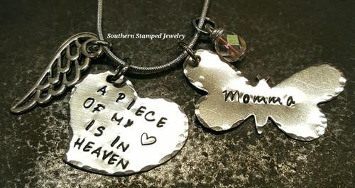 A Piece Of My Heart Silver Funky Heart w/ Silver Butterfly