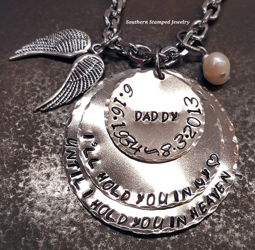 I'll Hold You In My Heart 3 Layer Silver Rear View Mirror Charm