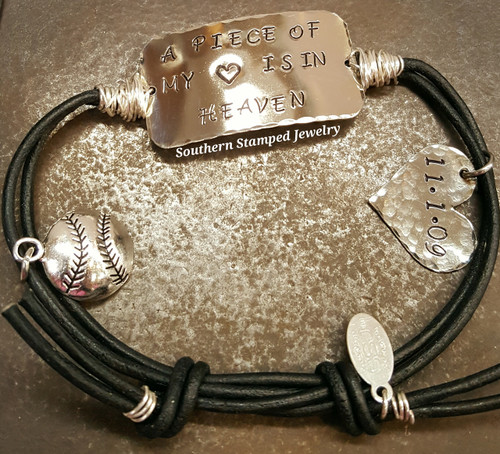 Silver Wide Bar Wire Wrapped Black Adjustable Bracelet w/ One Charm And Silver Solid Heart