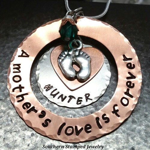 A Mother's Love Copper Washer w/ Silver Circle and Tiny Heart