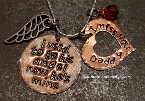 I Used To Be His Angel Copper Circle With Large Copper Open Heart