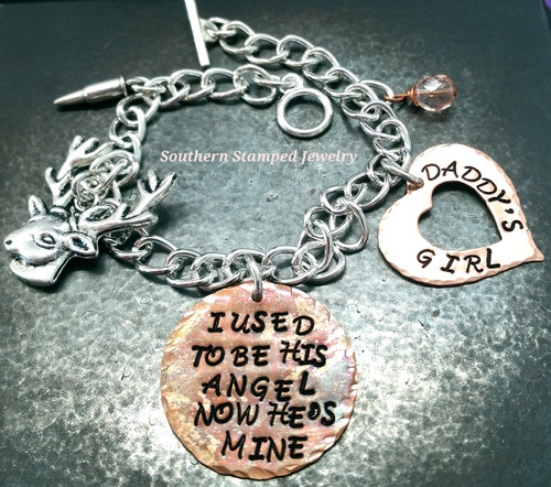 I Used To Be His Angel Copper Circle w/ Copper Open Heart Bracelet