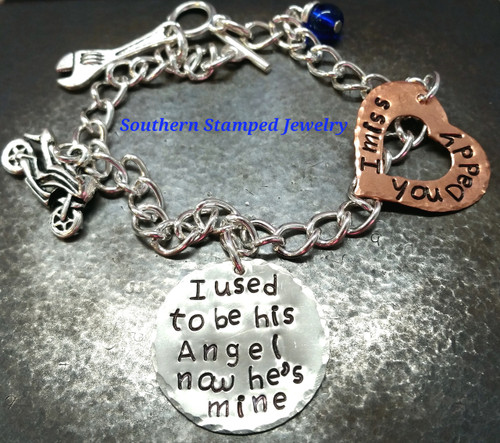 I Used To Be His Angel Silver Circle w/ Copper Open Heart Bracelet