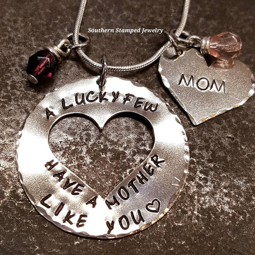 A Lucky Few Have A Mother Like You Large Silver Circle w/ Cut Out Heart