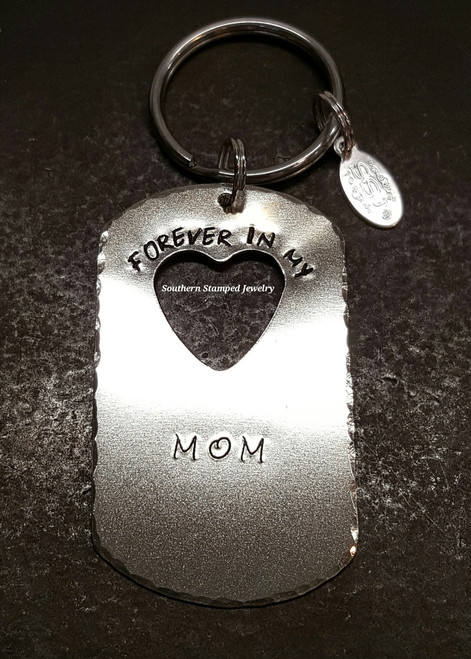 Forever In My Heart Silver Washer w/ Cut Out Heart Key Chain
