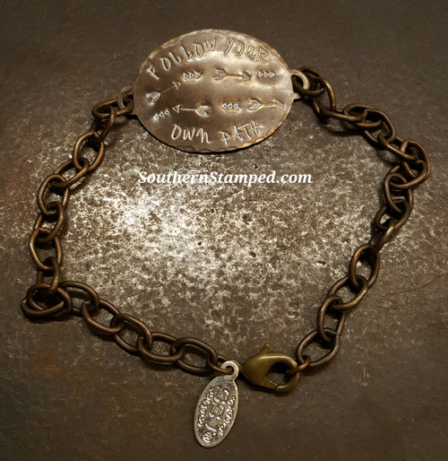 Follow Your Own Path Natural Brass Oval Bracelet