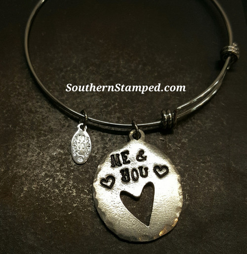 Me And You Cut Out Heart Pewter Oval Bangle Bracelet