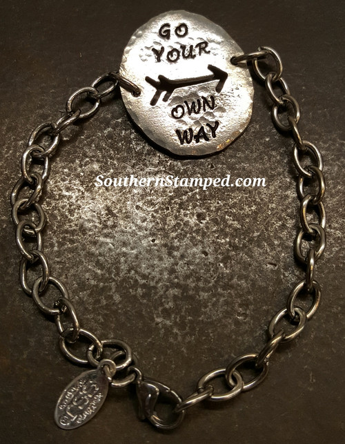Go Your Own Way Arrow Cut Out Pewter Oval w/ Stainless Steel Bracelet