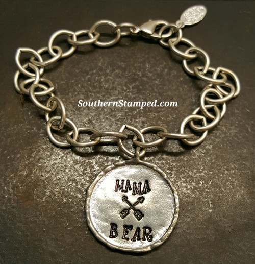 Mama Bear Pewter circle w/ Border Bracelet