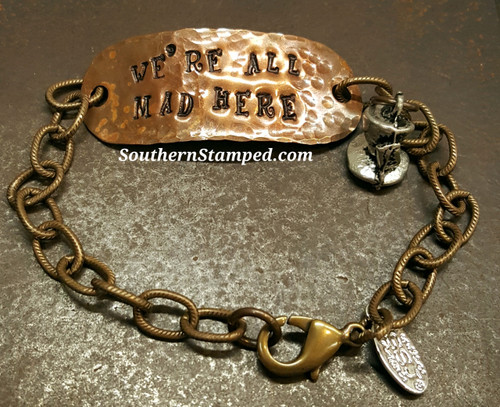 We're All Mad Here Copper And Natural Brass Bracelet