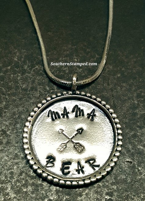 Mama Bear Sterling Silver Fancy Circle Necklace