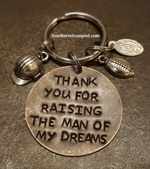 thank you for raising the man of my dreams natural brass circle with two silver charms
