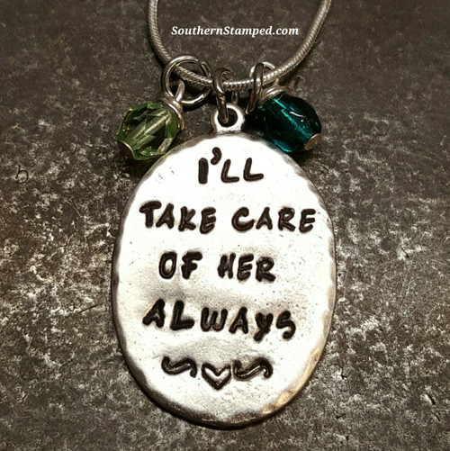 I'll Take Care Of Her Always Sterling Silver Oval