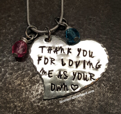 Thank You For Loving Me As Your Own Silver Heart