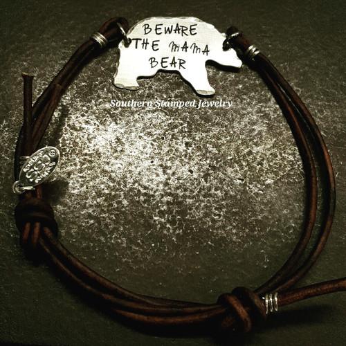 Beware The Mama Bear Silver Bear w/ Brown Leather Adjustable Bracelet