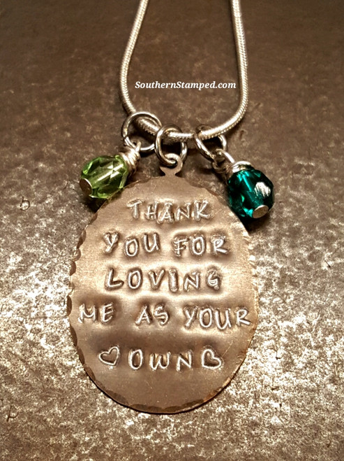 Thank You For Loving Me As Your Own Natural Brass Necklace w/ 2 Birth Stones