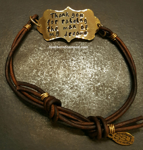 Thank You For Raising Small Brass Plaque w/ Brown Leather Adjustable Bracelet