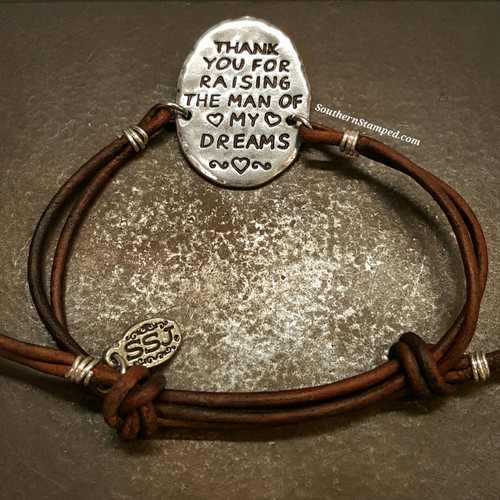 Thank You For Raising Pewter Oval w/ Brown Leather Adjustable Bracelet